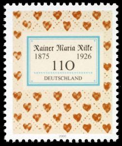 Briefmarkenausgabe der Deutschen Post (2000) zum 125. Geburtstag von Rilke (Bildquelle Wikipedia, gemeinfrei)